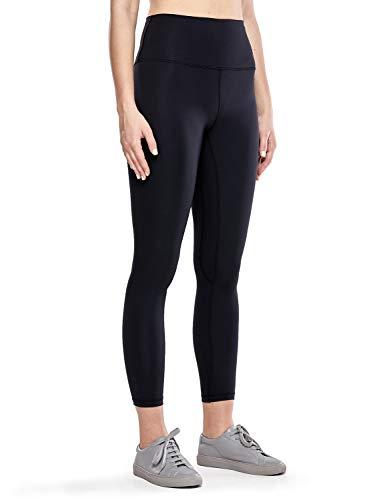 CRZ YOGA Damen Hohe Taille Sport Leggings Fitness Hosen mit Tasche Yogahose Schwarz - 63cm 36
