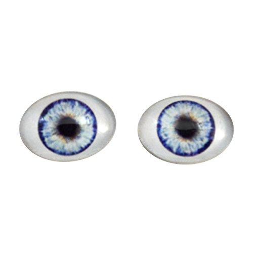 Bambola blu ovale in vetro occhi fantasy taxidermy arte bambola fare o gioielli artigianato set di 2 (18 mm x 25 mm)