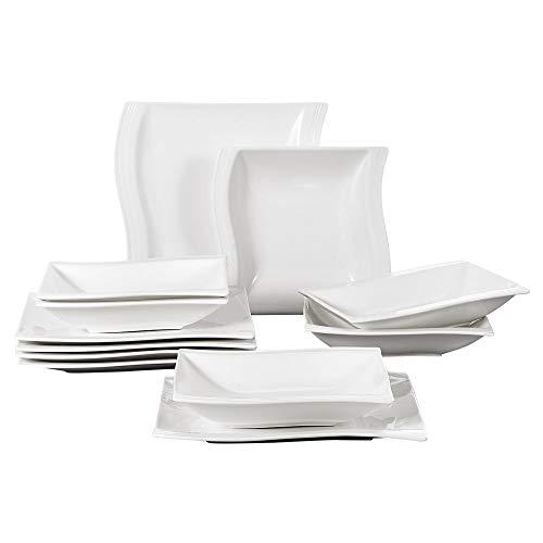 MALACASA 12pcs Assiettes Porcelaine Service de Table, 6 Assiettes à Soupe Creuse, 6 Assiettes Plates, Céramique Vaisselles Plat, Série Flora