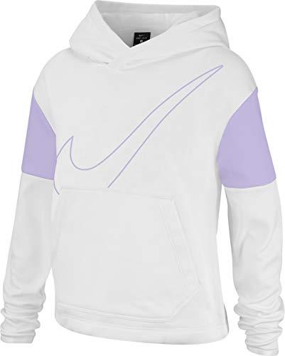Nike Girls' Therma Swoosh Tie Waist Hoodie White/Lavender Mist Small
