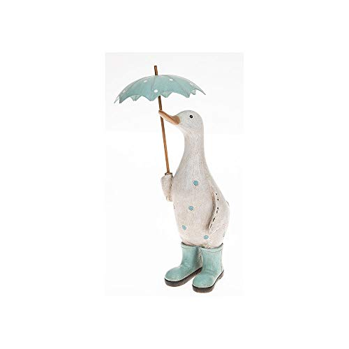 Joe Davies David's Polka Dot Print Cute Shabby Chic Duck Ornament Figurine With Umbrella and Wellington Boots (Aqua)