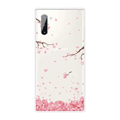 Miagon Transparent Hülle für Samsung Galaxy Note 10,Rosa Kirsche Blume Muster Kreativ Süße Durchsichtig Klar Soft Ultra Dünn Silikon Case Cover Schutzabdeckung
