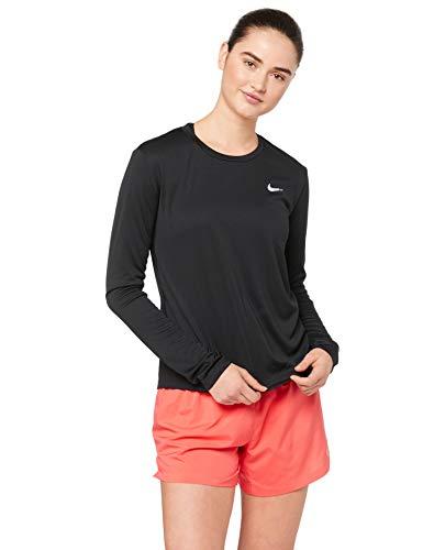 NIKE W NK Miler Top LS Camiseta de Manga Larga, Mujer, Black/Reflective silv, S
