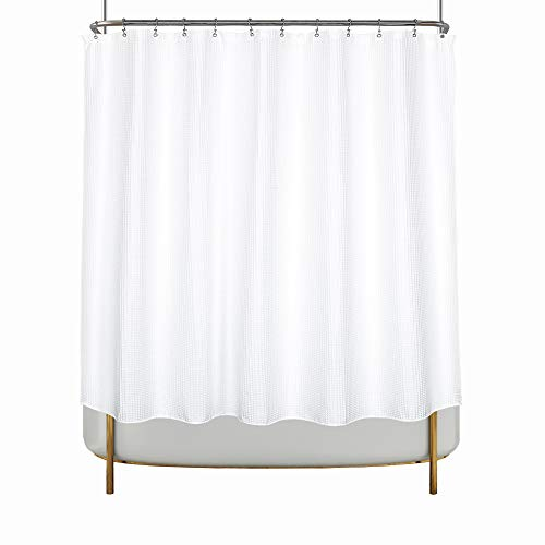 "Clawfoot Tub Waffle Shower Curtain Cotton Blend, 180"" PEVA Liner and 36 Metal Hooks Included - White, Wrap-Around 180x70"