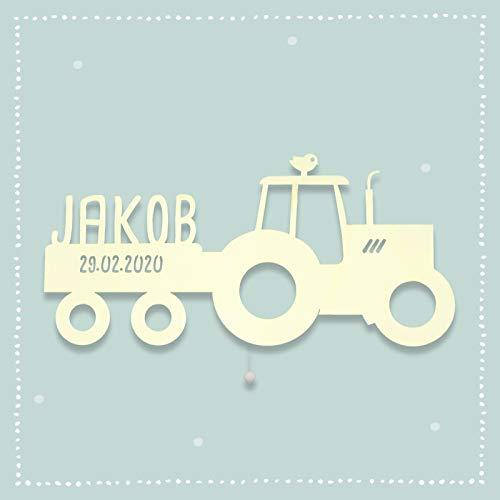 Nachtlicht Schlummerlicht Traki der Traktor Kinderzimmer-Lampe/Tauf-Geschenk oder zur Geburt/Personalisiert mit Wunsch-Name für Mädchen oder Jungen Babyzimmer Stilleuchte [Energieklasse A++]