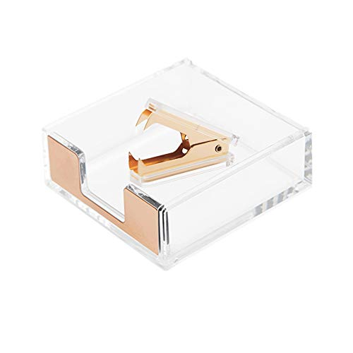 Clear Acrylic Dark Gold Self-Stick Note Cube Holders   Staple Removers Set Desktop Copper Golden Memo Pad Dispenser 3.5x3.3 Inch   Staples Removal Tool for Office School Supplies (Dark Gold)
