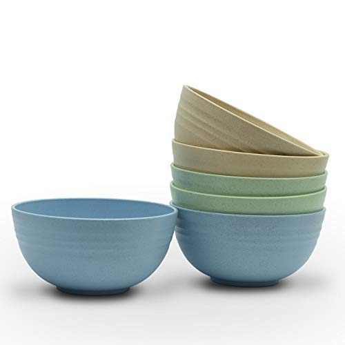 [Set of 6] Unbreakable Cereal Bowls 24 OZ Set 8 Microwave and Dishwasher Safe BPA Free E-Co Friendly Bowl Mixed Color for Cereal, Salad, Soup, Rice