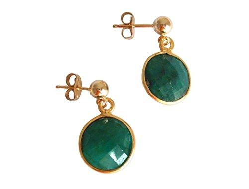 Gemshine - Pendientes de oro de 14kt y esmeralda natural, color de la gema verde