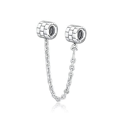 LILANG Pulsera de joyería Pandora 925, ajustes Naturales para Cadenas de Seguridad abstractas, abalorio de Plata esterlina para Mujeres, Regalos DIY