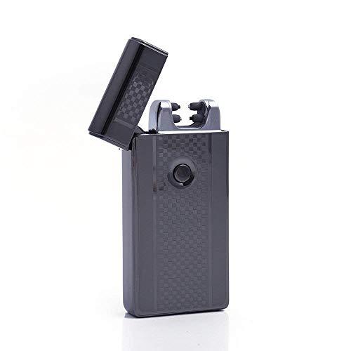 German Caja electrónico USB mechero Recargable luz Arco Mechero Eléctrico Resistente al Viento Plasma, sin Llama, diseño Cuadros Negro