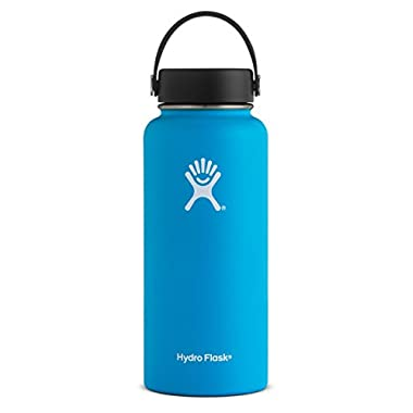 Hydro Flask 32 oz Double Wall Vacuum Insulated Stainless Steel Leak Proof Sports Water Bottle, Wide Mouth with BPA Free Flex Cap, Pacific