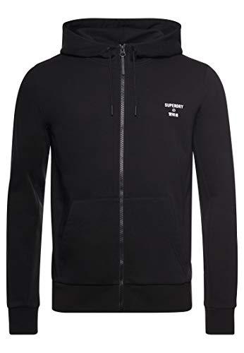Superdry Herren Training Core Sport Zip Hood Sweatshirt Gr. M, Schwarz