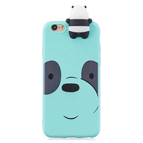 Funda Compatible per iPhone 5/5s/SE 2016 Silicona 3D Animal Dibujos Motivo Mate Kawaii Ultrafina One Piece Carcasa Case Antigolpes Bumper Protección Resistente Kawaii Cover Panda + Verde