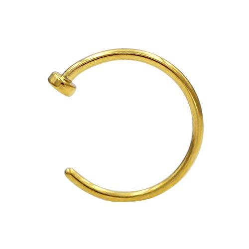 JOFUKIN 316L Surgical Steel Piercing Jewelry 6mm Nose Rings 22 Gauge Lip Ring 22g Nose Hoop Yellow Gold Thin Septum Rings for Women Men