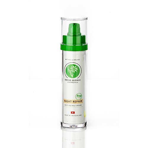 SWISS BIONIC Night Repair Anti-Aging Cream 50ml - BIO-zertifizierte Nachtcreme - Naturkosmetik aus Edelweiss, Aloe Vera, Algen, Jojobaöl und Hyaluron
