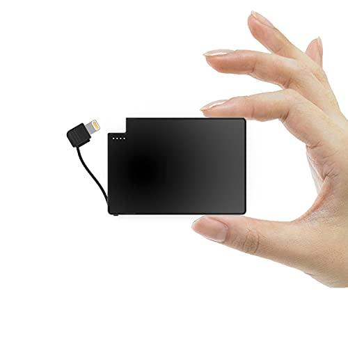 TNTOR - Power Bank Portatile da 2500 mAh, 4 mm, più Sottile e Leggera, Integrata con Cavo per iPhone, Portafoglio e Batteria Tascabile
