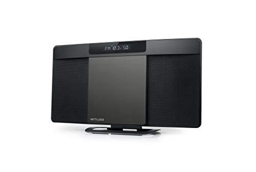 Muse M-59 BT Vertikale Bluetooth Stereoanlage mit CD-Player, USB und Weckfunktion (UKW, MP3, Equalizer, AUX), 2 x 10 Watt, schwarz