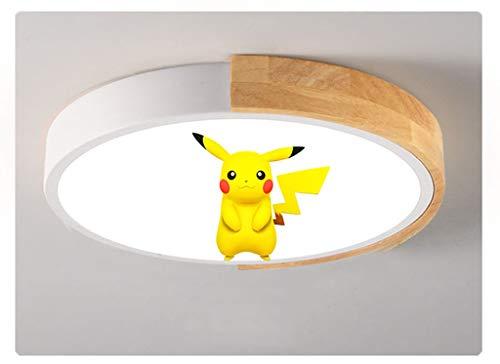 ZQQ LED Pokémon Lámpara De Techo De Dormitorio Regulable con Control Remoto Dibujos Animados Pikachu Luz De Techo Niño Niña Lámpara De Guardería Sala De Estar Comedor Iluminación De Techo,Blanco,50cm