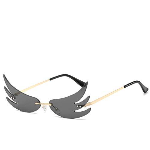 ZYIZEE Gafas de Sol Gafas de Sol con Forma de Llama de Fuego para Mujer y Hombre Gafas de Sol sin Montura Gafas de Sol de Metal para Mujer Vintage Gafas de Espejo UV400