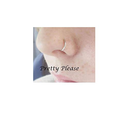 Fake Nose Ring, NO PEIRCING REQUIRED 0.7mm Simple Nose Hoop,Nose Ring,Tragus Hoop (6mm, Silver)