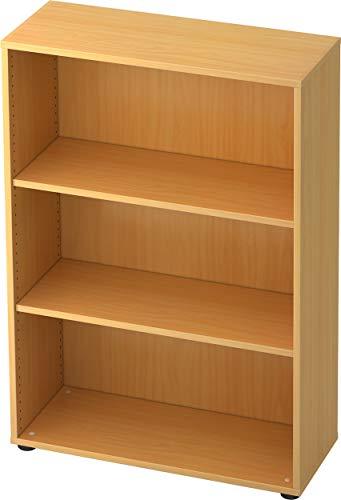 bümö® Aktenregal aus Holz | Büroregal für Aktenordner | Regal für Ordner | Bücherregal inkl. Einlegeböden | in 5 Farben verfügbar (Buche, H 114cm = 3 Ordnerhöhen)