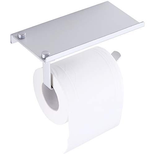 MYAMIA Soporte Sin Perforaciones de Papel Higiénico de Aluminio con Estante para Teléfono Montado En La Pared Cuarto de Baño Accesorios Dispensador de Rollo de Pañuelos Mate