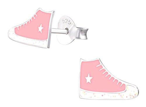 Laimons Mädchen Kids Kinder-Ohrstecker Ohrringe Kinderschmuck Sneaker Schuh Turnschuh Rosa Weiß Glitzer Stern aus Sterling Silber 925