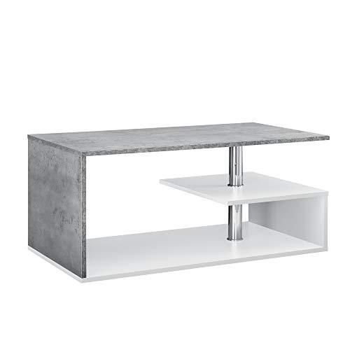 [en.casa] Tavolino da Salotto con 3 Mensole 90 x 50 x 41 cm Tavolino Basso da caffè Truciolato Bianco Effetto Calcestruzzo