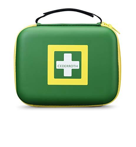 Cederroth  | First Aid Kit Medium | Kit de primeros auxilios bien equipado y hecho de un material resistente tipo caucho, con una práctica asa y una tira de cierre de velcro ajustable