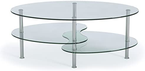 Best Ryan Rove Ashley - Oval Two Tier Glass Coffee Table - Coffee Tables for Living Room, Kitchen, Bedroo