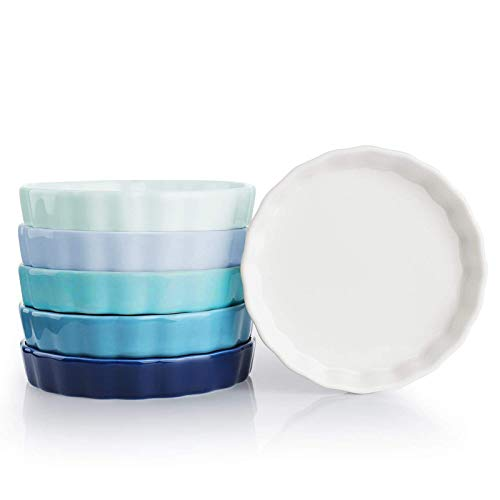Sweese 505.003 Porcelain Ramekins Round Tart Pan Mini Fluted Quiche Dishes - 5 Ounce for Creme Brulee - Set of 6, Cool Assorted Colors