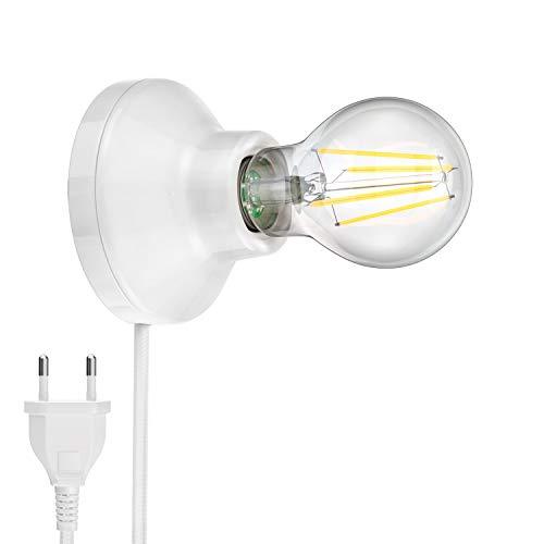 ledscom.de Lámpara de pared de porcelana ELEKTRA interruptor de enchufe redondo blanco 90mm + E27 Lámpara LED blanco cálido 3 niveles de regulación: máx. 800lm