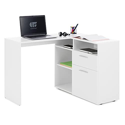 COMIFORT Escritorio Esquinero - Mesa Escritorio en forma de L, 4 huecos abiertos 1 cajon 1 armario, Escritorio Rinconera - CARAVIA blanco
