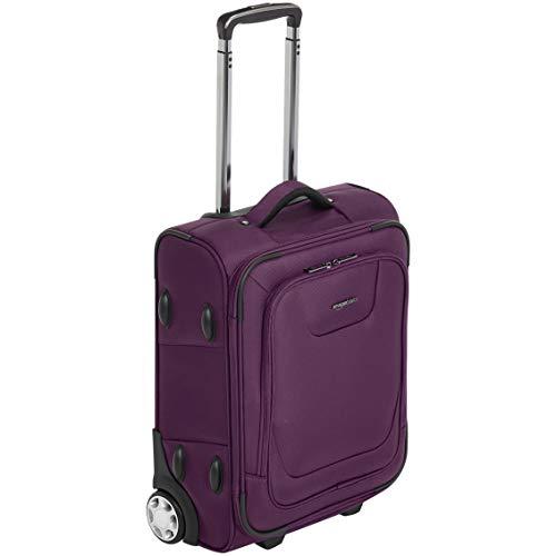 AmazonBasics, Premium, valigia verticale espandibile, morbida, con chiusura TSA, 48 cm, bagaglio a mano di dimensioni internazionali, viola
