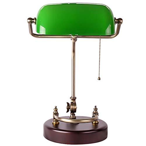 LANMOU Lámpara de Banquero Vintage, E27 Vidrio Lámpara de Mesa para Dormitorio con Interruptor de Tiro de Línea, Base de Madera, Lámpara de Escritorio Retro para Estudio Mesa de Café Bar