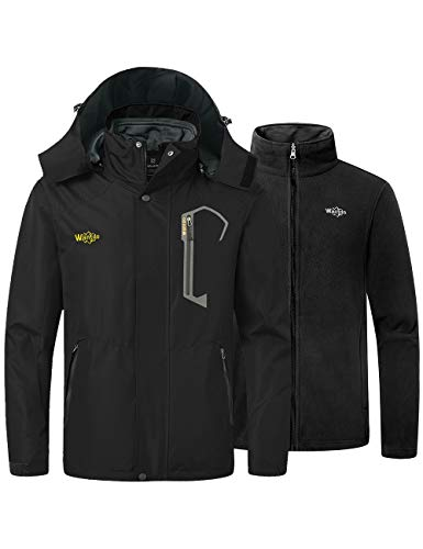 Wantdo Men's Mountain 3 in 1 Ski Jacket Insulated Parka Waterproof Coat Black X-Large