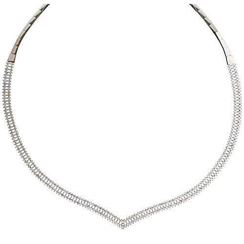 Girocollo Semirigido In Oro Bianco 18 Kt 750/1000 Modello Tennis Con Zirconi Da Donna