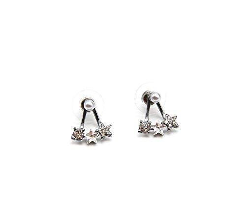 BO329A-pendientes de perlas y Triple arrastre Mini, diseño con brillantes, color Gris, en la oreja-modo de fantasía
