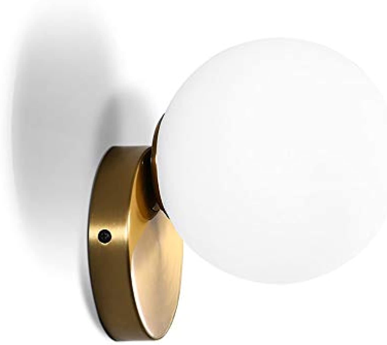VOVOVO Glaskugel LED Wandleuchten Modern Wandleuchte innen, Bad Lampen Spiegel Leuchten Beleuchtung Wandlampen,Metall Edelstahl Halterung,Wandleuchten Wohnzimmer,Schlafzimmer,Gang