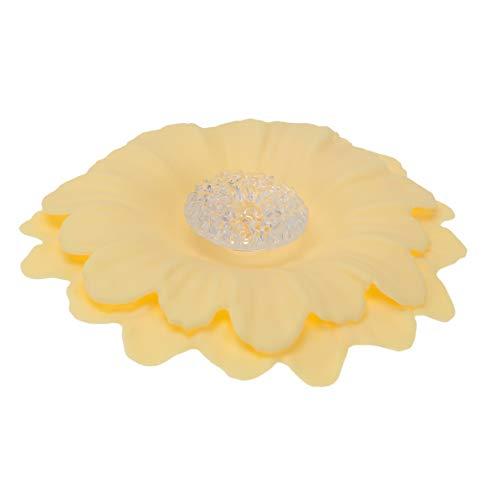 Yardwe 1 PC Silikonglasbecherabdeckungen Wiederverwendbare Anti-Staub-Becherabdeckungen Kreative Süße Süße Teebecherabdeckung in Lebensmittelqualität Kreative Blumenformbecherabdeckung (Hellgelbe