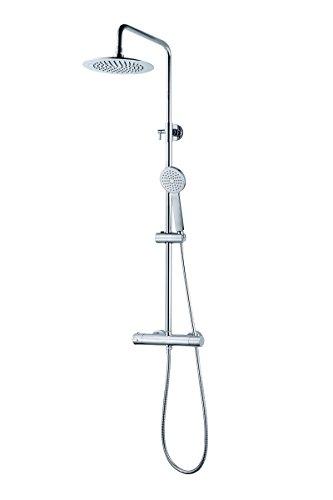 Elbe Duschsystem mit Thermostat, Duschsäule aus Edelstahl gefertigt, mit runder Kopfdusche und Handbrause, verstellbare Duschstange