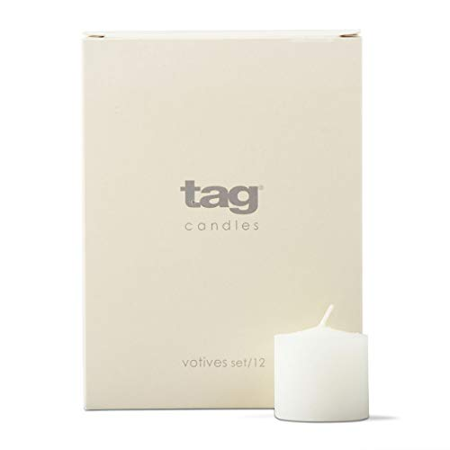 tag Unscented Basic Votive Candle 12 Pack Burn Time 6 Hours Ideal for Home Decor Birthday Parties Wedding White