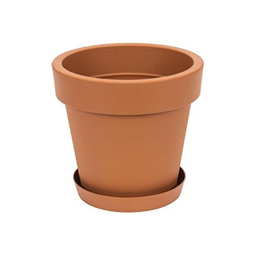 Pot de Fleur avec Soucoupe en Plastique Lofly, Classique, 25 cm diam, Marron