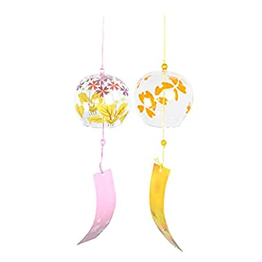 MonkeyJack 2pcs Wind Bell Japanese Wind Chimes Handmade Glass Windchimes DIY Decor Crafts -Cherry Blossom + Yellow Leaf