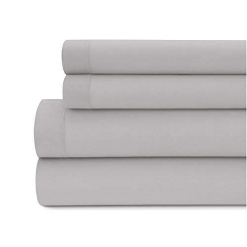 Briarwood Home Jersey Knit Bed Sheet Set – 100% Modal – Heavy Weight, T-Shirt Soft, Cozy 4 Piece Bedding – Fade & Wrinkle Free, All Season Breathable Sheets (Queen, Ash Grey)