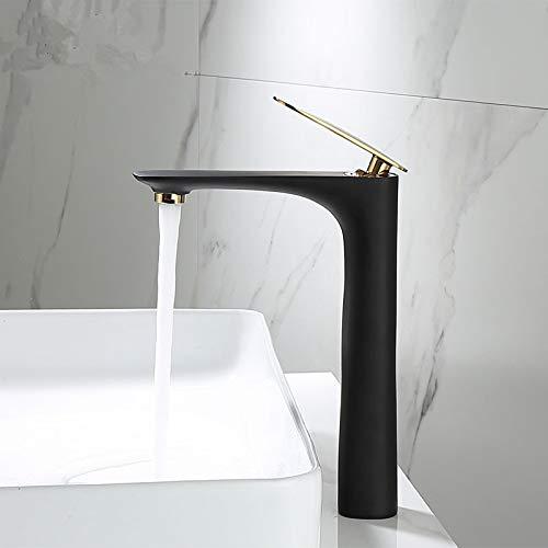 ZHQHYQHHX Mezclador de fregadero negro y dorado para lavabo de baño caliente y frío, latón negro, grifo de baño grúa grifo del fregadero (color: negro y oro, tamaño: 1 pieza)