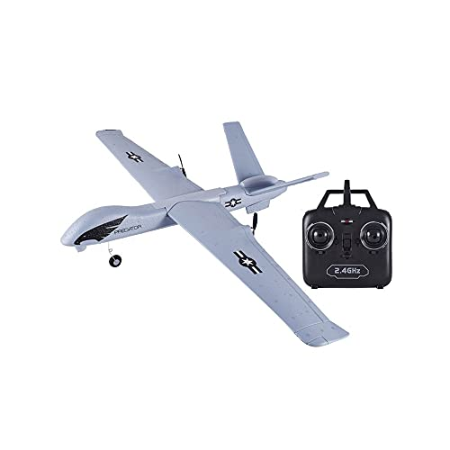 ZAKRLYB Juegos de jardín Control Remoto Aviones de Espuma Avión de Deslizamiento Fijo con Luces LED Protección de Baja Potencia Resistente a Las caídas Niños al Aire Libre Interior