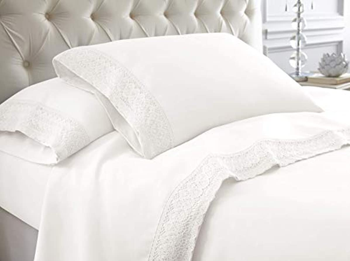 Amrapur Overseas 4-Piece Crochet Lace Bed Sheet Set, Queen, White