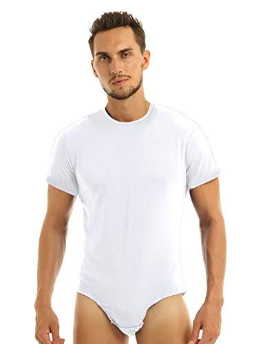 Agoky Herren Body Männer Einteiler Unterwäsche Kurzarm Unterhemd Rundhals T-Shirt Einfarbig Baumwolle Tops und Ouvert Slip mit Knöpfe im Schritt Weiß Medium