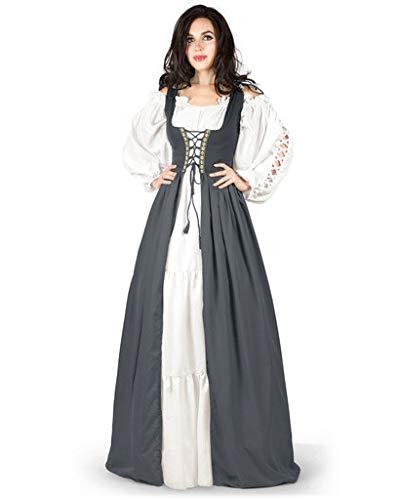 Gaelic Pirate Wench Irish Renaissance Costume Over Dress & Chemise (1X-2X, Charcoal)